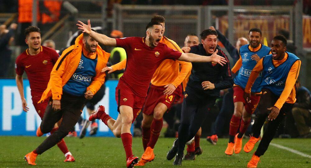 Soccer Football - Champions League Quarter Final Second Leg - AS Roma vs FC Barcelona - Stadio Olimpico, Rome, Italy - April 10, 2018 Roma's Konstantinos Manolas celebrates scoring their third goal with team mates