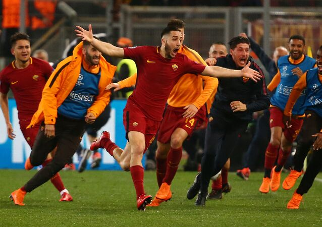 Soccer Football - Champions League Quarter Final Second Leg - AS Roma vs FC Barcelona - Stadio Olimpico, Rome, Italy - April 10, 2018 Roma's Konstantinos Manolas celebrates scoring their third goal with team mates