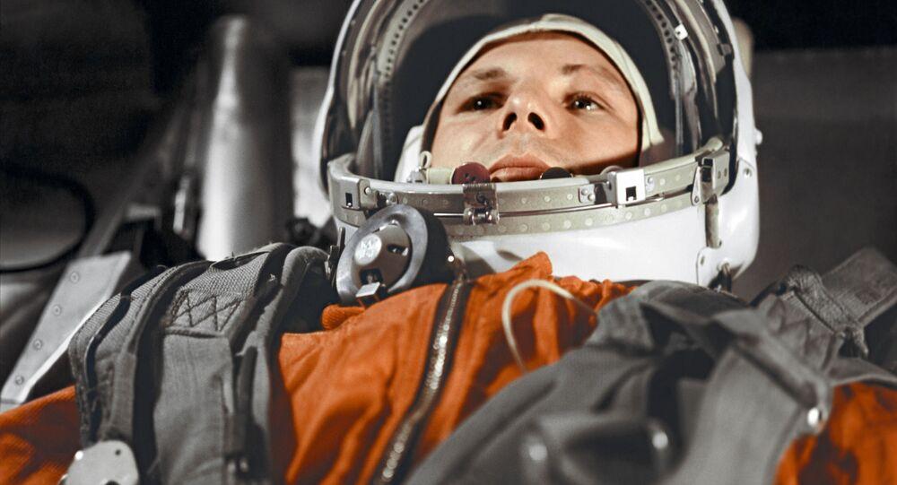 Cosmonaut Yuri Gagarin aboard 'Vostok-1' spacecraft