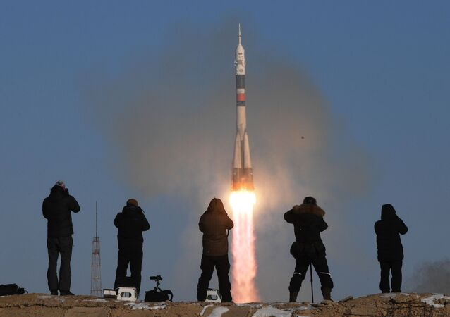 A Soyuz-FG rocket launches the Soyuz-MS-07 manned spacecraft from the Baikonur Space Center