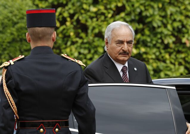 General Khalifa Haftar, commander in the Libyan National Army (LNA), arrives to attend a meeting for talks over a political deal to help end Libya's crisis in La Celle-Saint-Cloud near Paris, France. (File)