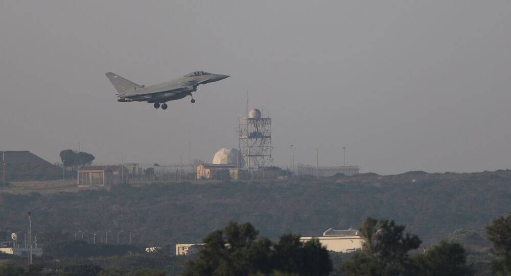 REMOVING FRENCH FROM DESCRIPTION A fighter jet prepares to land at RAF Akrotiri, a military base Britain maintains on Cyprus, April 14, 2018