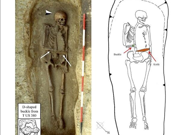 Photo and drawing of T US 380. Notice the orientation of the right arm, the position of the  D-shaped buckle and the location of the knife. Unlike most burials, the right arm of the individual  was bent over the pelvis in correspondence of both buckle and knife (burial photo and drawing are  kindly provided by Dr. Gianni De Zuccato and Dr. Brunella Bruno of the Soprintendenza per i Beni  Archeologici del Veneto in Verona)