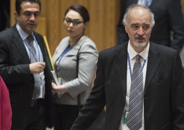 Syrian Ambassador to the United Nations Bashar Ja'afari leaves the Security Council chambers after meeting on the situation in Syria, Saturday, April 14, 2018 at United Nations headquarters