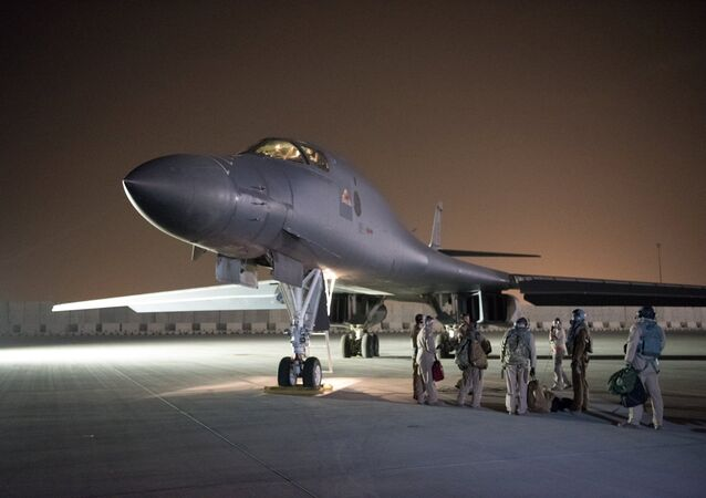 A U.S. Air Force B-1B Lancer and crew, being deployed to launch strike as part of the multinational response to Syria's use of chemical weapons, is seen in this image released from Al Udeid Air Base, Doha, Qatar on April 14, 2018