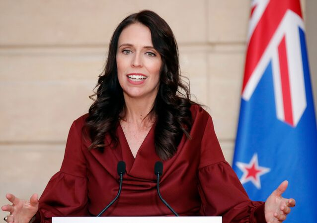 New Zealand Prime Minister Jacinda Ardern addresses a media conference with French President Emmanuel Macron, at the Elysee Palace in Paris, Monday, 16  April 2018.