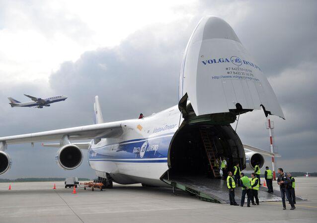 AN-124-100 Ruslan aircraft of Volga-Dnepr company. File photo