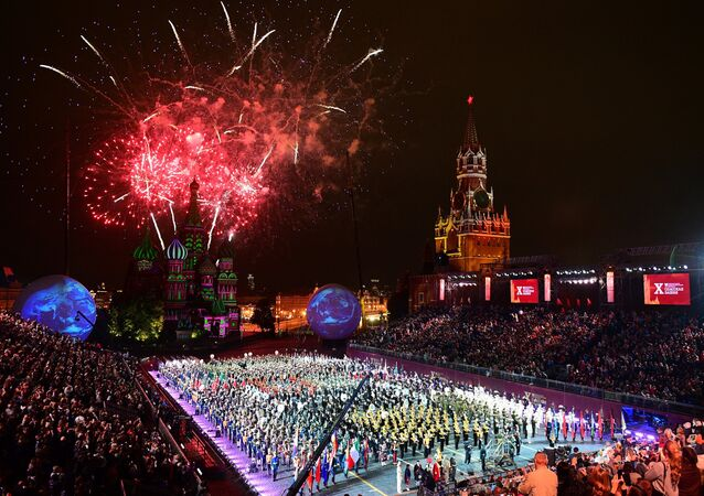 The closing ceremony of the 10th Spasskaya Tower International Military Music Festival in Moscow
