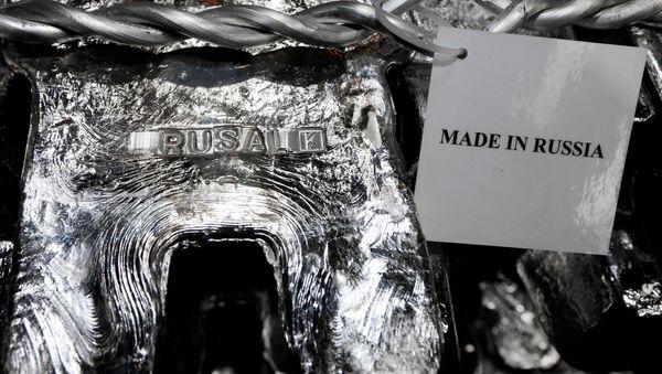 Pure aluminium ingots are seen stored at the foundry shop of the Rusal Krasnoyarsk aluminium smelter in the Siberian city of Krasnoyarsk, Russia November 9, 2017 - Sputnik International