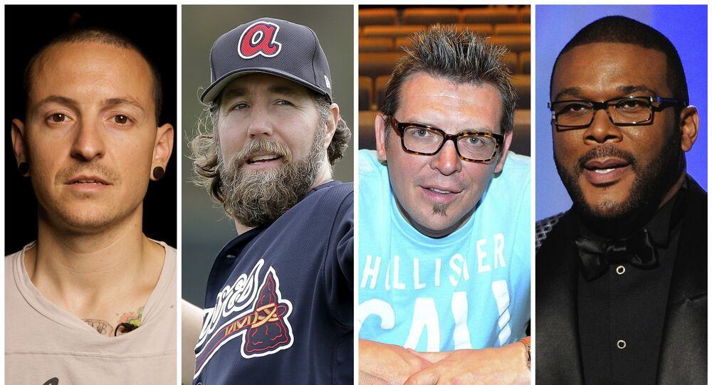 This combination of 2008-2017 photos shows Linkin Park co-lead vocalist Chester Bennington, Atlanta Braves pitcher R.A. Dickey, former NHL star Theo Fleury and film director Tyler Perry. They are among the male celebrities who have disclosed they were victims of sexual abuse