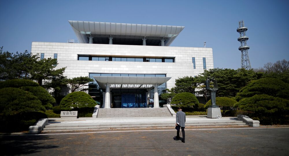 The Peace House, the venue for the inter-Korean summit on April 27, 2018, is pictured at the truce village of Panmunjom inside the demilitarized zone (DMZ) separating the two Koreas, South Korea, April 18, 2018