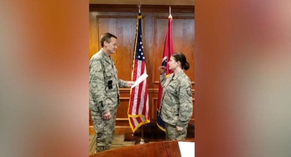 A footage has emerged in the Internet to show a re-enlistment ceremony of Master Sergeant Robin Brown from the Tennessee Air National Guard who recited her oath in a very surprising fashion