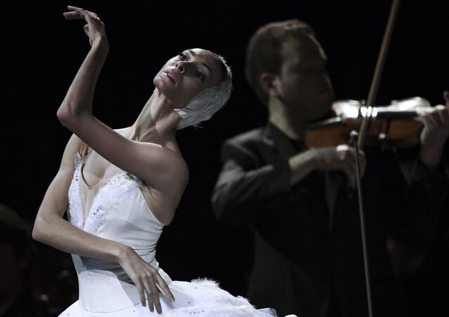 Bolshoi Theatre ballet dancer Olga Smirnova during a gala concert of the Svetlanov State Academic Symphony Orchestra of Russia and the Sveshnikov State Academic Russian Choir at the historical stage of the Bolshoi Theatre, Moscow