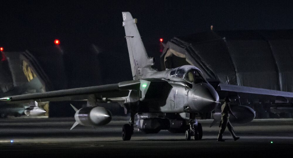 An RAF Tornado taxis to the threshold before taking-off, in Akrotiri, Cyprus April 14, 2018