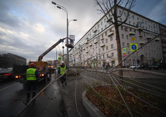 Consequences of the storm that hit Moscow on Friday, April 21.