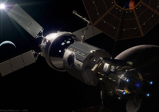artist rendition of space station in moon orbit (Lunar Orbital Platform-Gateway, or 'LOP-G')