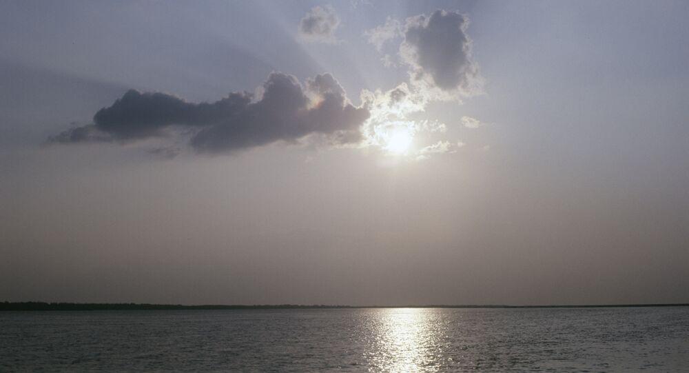 Sunset over the Amu Darya river