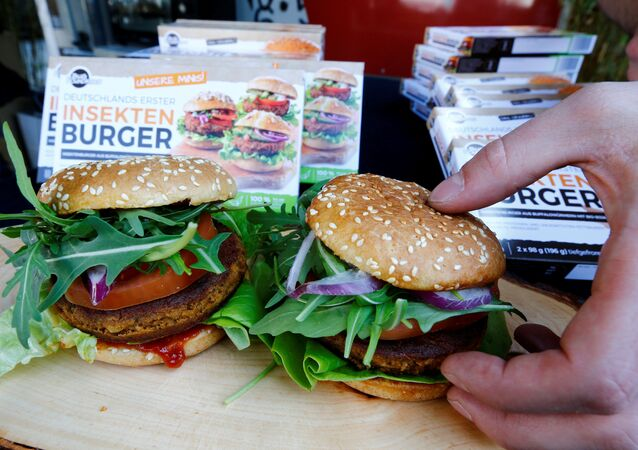 Two burgers made of buffalo worms (Alphitobius Diaperinus) by a German food start-up Bug Foundation are placed during its premiere in a supermarket in Aachen, Germany, April 20, 2018