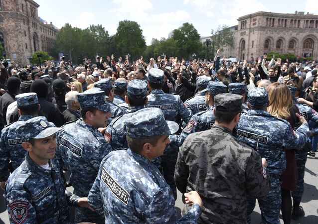 Police officers on Republic Square in Yerevan where opposition rallies take place