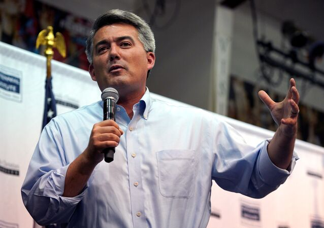 U.S. Senator Cory Gardner (R-CO) speaks at a town hall meeting in Lakewood, Colorado, U.S., August 15, 2017