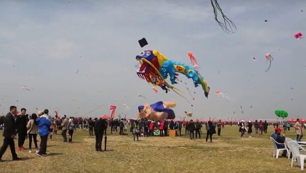 China: 10,000 kites fly high in breezy Weifang festival - Sputnik International