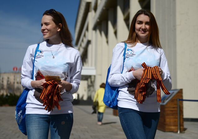 Volunteers distributes St. George ribbons in Moscow as part of the annual St. George's Ribbon project dedicated to the 73rd anniversary of the Victory in the Great Patriotic War