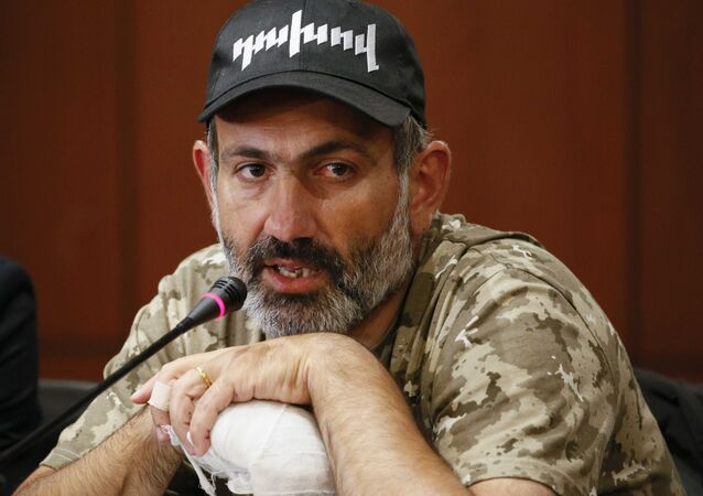 Armenian opposition leader Nikol Pashinyan speaks during a news conference in Yerevan, Armenia April 24, 2018