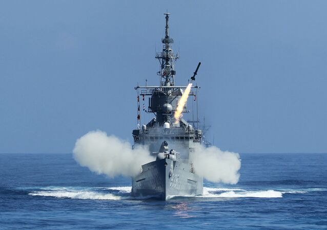 Taiwan Navy's Perry-class frigate launches an ASROC (anti-submarine rocket) during the annual Han Kuang military exercises.
