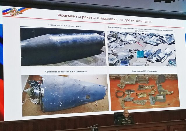 Chief of the Main Operations Directorate of the General Staff of the Russian Armed Forces Sergei Rudskoi at a briefing on the developments in Syria, where he demonstrated fragments of the coalition missiles shot down by the Syrian anti-aircraft defense systems