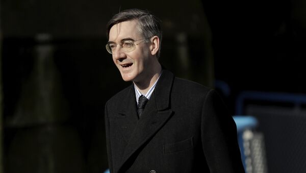 British Conservative Party Member of Parliament (MP) and Brexiteer Jacob Rees-Mogg arrives to speak to the media on Embankment Pier without boarding a fishing boat that went on to take part in a protest stunt with fish being thrown off it into the River Thames outside the Houses of Parliament in London, Wednesday, March 21, 2018 - Sputnik International