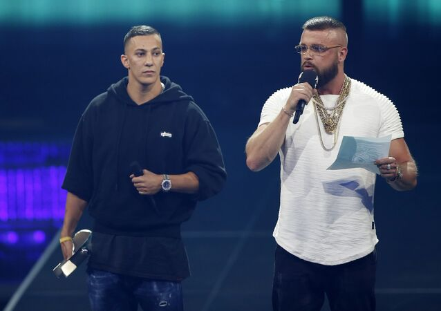 German rappers Kollegah & Farid Bang receive the National Hip-Hop/Urban award during the 2018 Echo Music Award ceremony in Berlin, Germany April 12, 2018