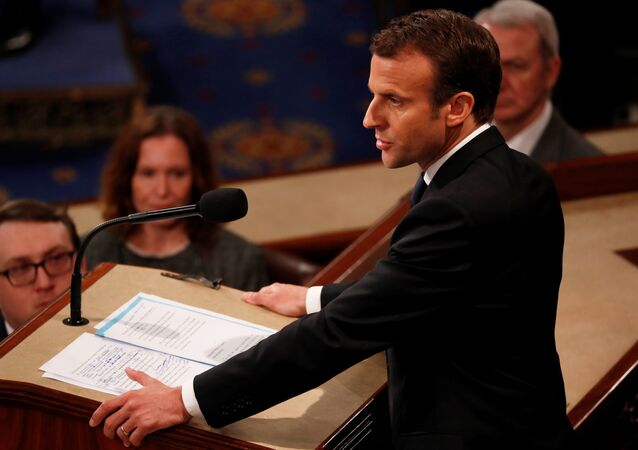 Hand written edits can he seen on French President Emmanuel Macron's speech as he addresses a joint meeting of the U.S. Congress in the House chamber of the U.S. Capitol in Washington, U.S., April 25, 2018