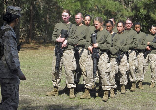 Female recruits stand at the Marine Corps Training Depot on Parris Island, South Carolina.
