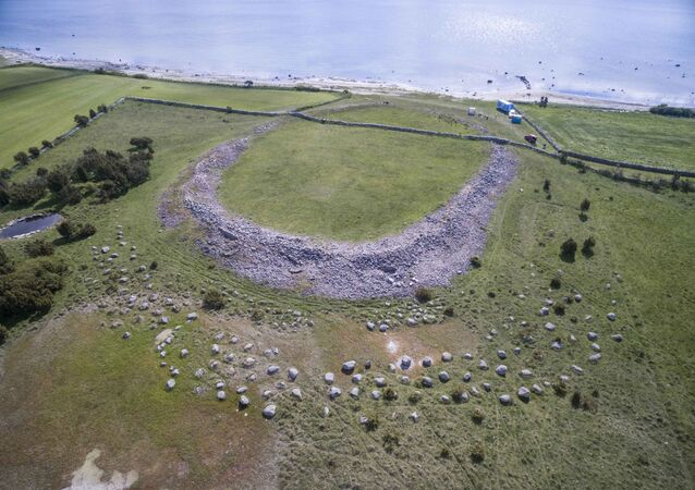 Aerial view of Sandby borg ringfort