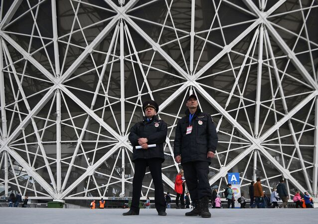 Security officers before the start of the first official match at the stadium Volgograd Arena