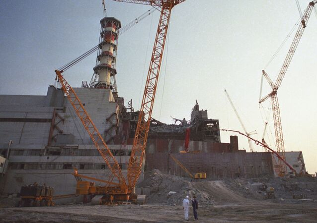 Liquidation of the effects of the Chernobyl accident. Destroyed wall of the fourth unit of the Chernobyl Nuclear Power Plant