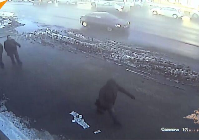 Nonchalant Passersby Walk Past Stolen Cash Lying On Pavement