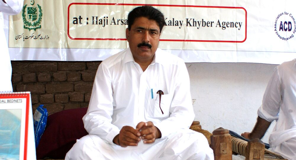 (File) This photograph taken on July 22, 2010, shows Pakistani surgeon Shakeel Afridi, who was working for CIA to help find Osama bin Laden, attending a Malaria control campaign in Khyber tribal district