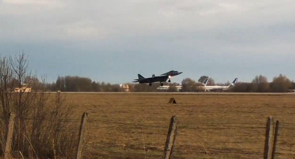 T-50-2LL landing at Gromov Flight Research Institute