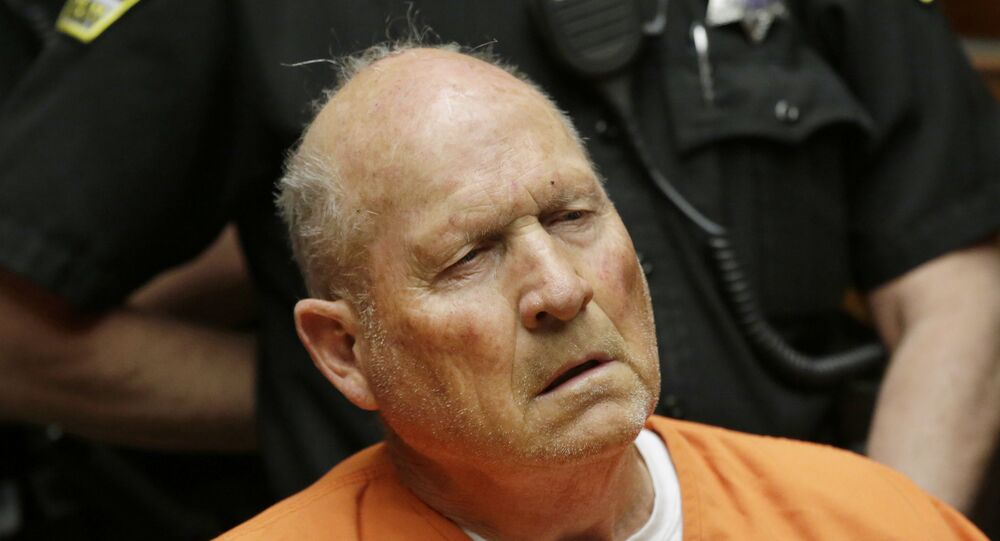 Joseph James DeAngelo, 72, who authorities suspect is the so-called Golden State Killer responsible for at least a dozen murders and 50 rapes in the 1970s and 80s, makes his first appearance, Friday, April 27, 2018, in Sacramento County Superior Court in Sacramento, Calif.