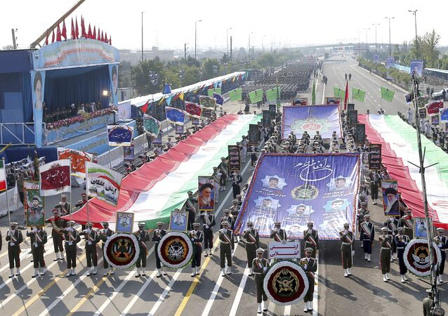 Iranian army troops march during a parade marking National Army Day in front of the mausoleum of the late revolutionary founder Ayatollah Khomeini, just outside Tehran, Iran, Wednesday, April 18, 2018