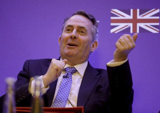 Britain's Secretary of State for International Trade Liam Fox speaks during the plenary session of the UK-India Joint Economic and Trade Committee (JETCO) 2018 at the Institute of Civil Engineers in London, Thursday, Jan. 11, 2018
