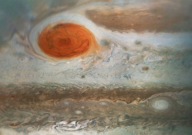 This image of Jupiter's iconic Great Red Spot and surrounding turbulent zones was captured by NASA's Juno spacecraft.