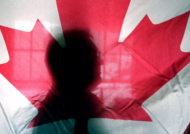 Andre Senecal, silhouetted behind a Canadian flag, Feb. 10, 2004, has been trying to get Americans to understand that Canada is more than polar bears, red-coated constables, hockey and long winters, introducing students to some of the intricacies of the European style of government.