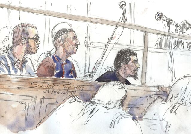 A file photo taken on April 5, 2018 shows a court sketch made on April 4, 2018 in Paris of defendants (from L) Hamza Mosli, Adil Barki and Ali Abdoumi during their trial at the Paris courthouse for terrorist conspiracy