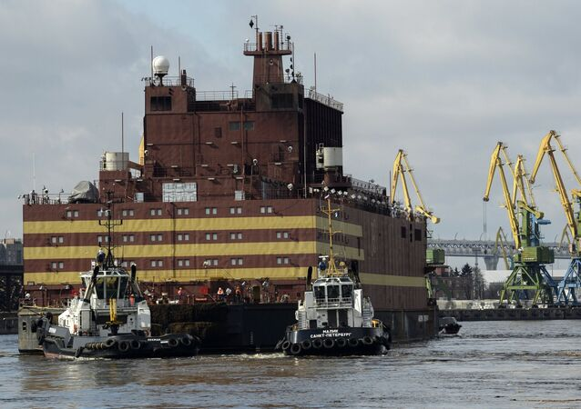 The Akademik Lomonosov floating nuclear power plant is towed from the Baltic Shipyard in St. Petersburg.
