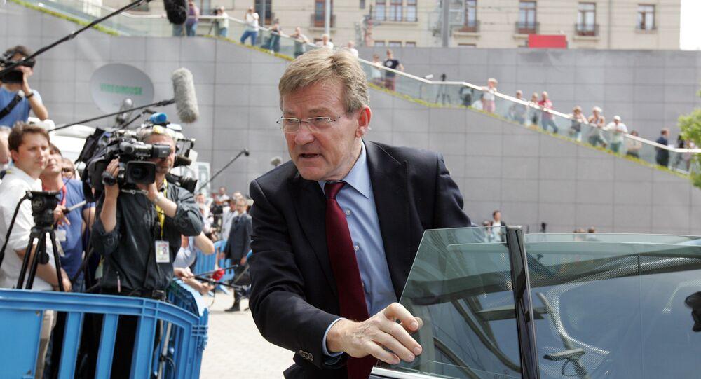 Belgium's Finance Minister Johan Van Overtveldt arrives for a meeting of eurozone finance ministers