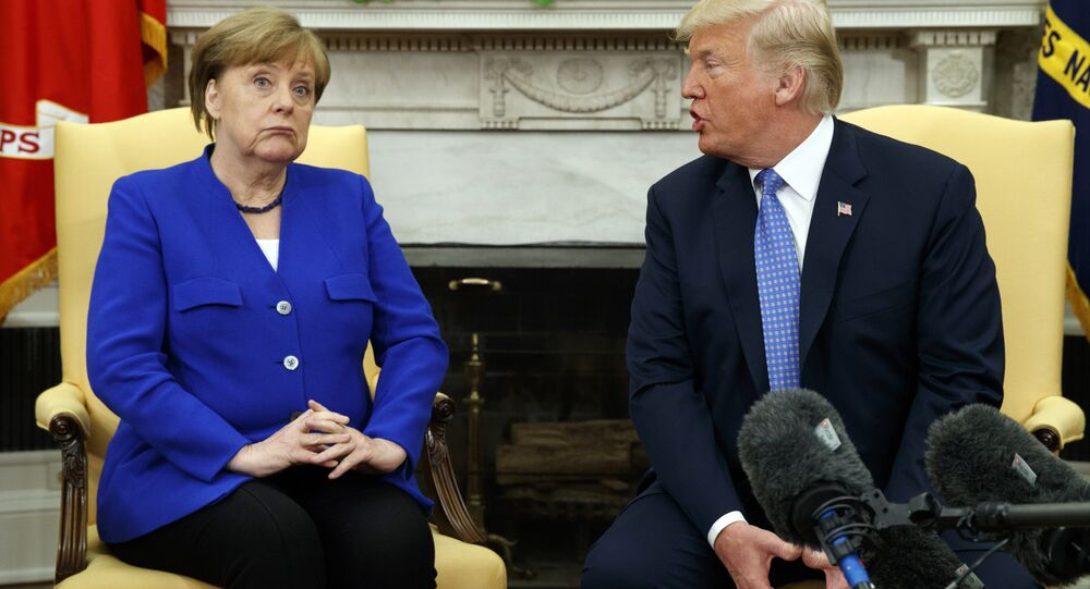 President Donald Trump meets with German Chancellor Angela Merkel in the Oval Office of the White House, Friday, April 27, 2018, in Washington