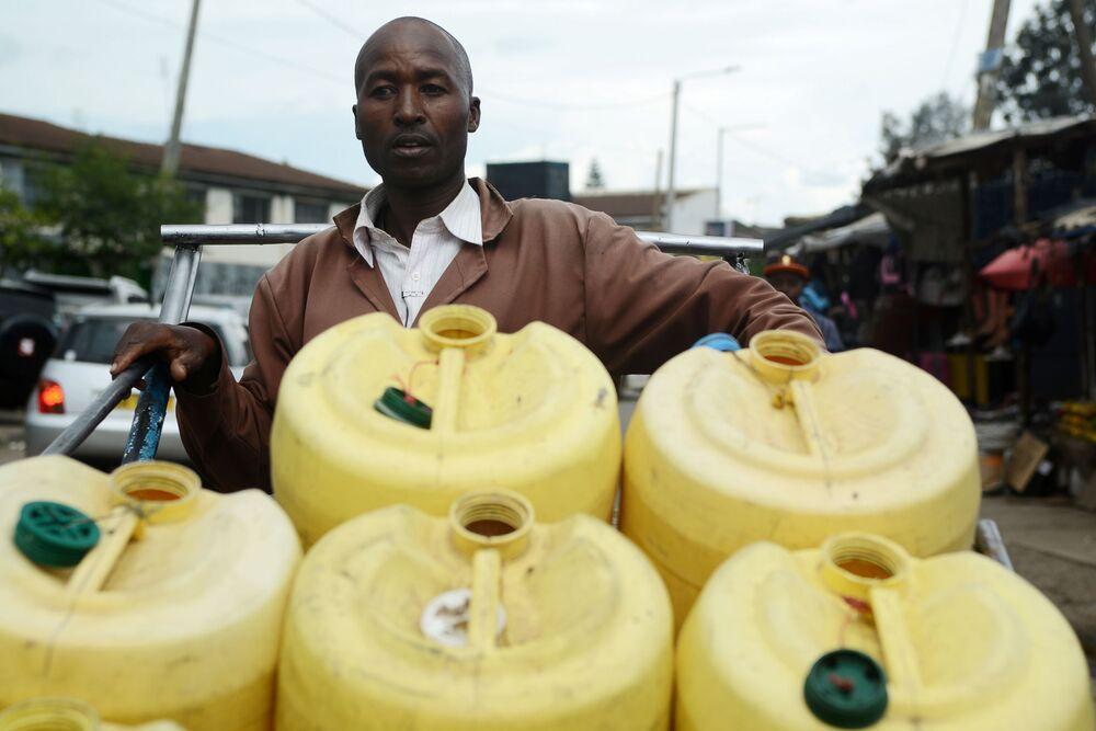 Water Vendor in Nairobi, Kenya