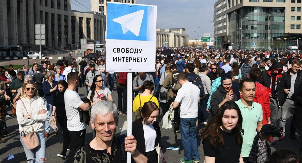 Participants of a rally against the Telegram messenger blocking on Sakharov Avenue in Moscow.
